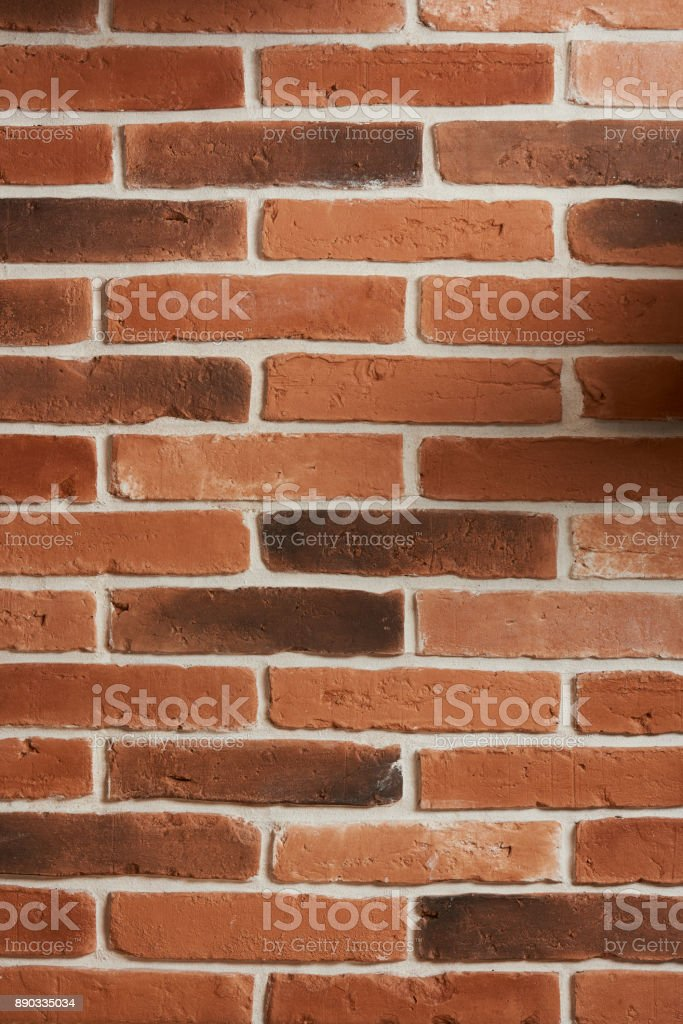 Vertical red brick wall stock photo