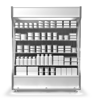 Vertical refrigerator for supermarket. With goods. 3d illustration isolated on white.