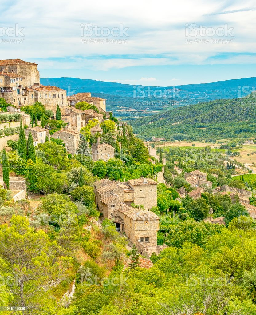Vertical scenic view of Gordes and countryside in Provence France stock photo