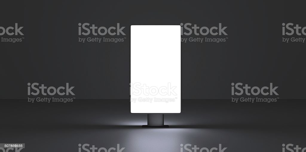 Vertical screen on dark background interiour night stock photo