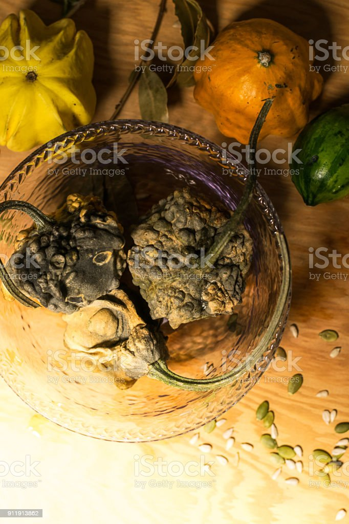 Vertical shot on a group of gourds stock photo