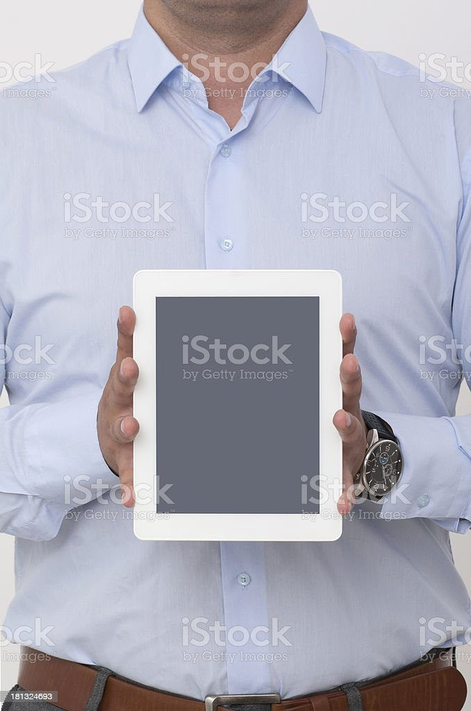 vertical showing screen of a digital tablet royalty-free stock photo