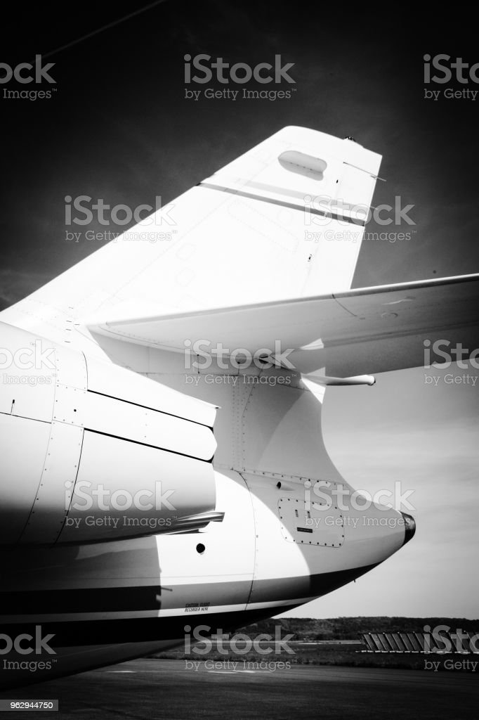 Vertical Stabilizer (Fin) of a Falcon Business Jet stock photo