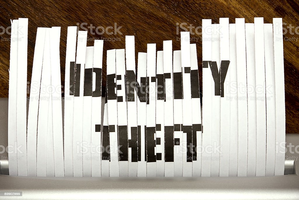 Vertical strips of paper forming the words IDENTITY THEFT  royalty-free stock photo