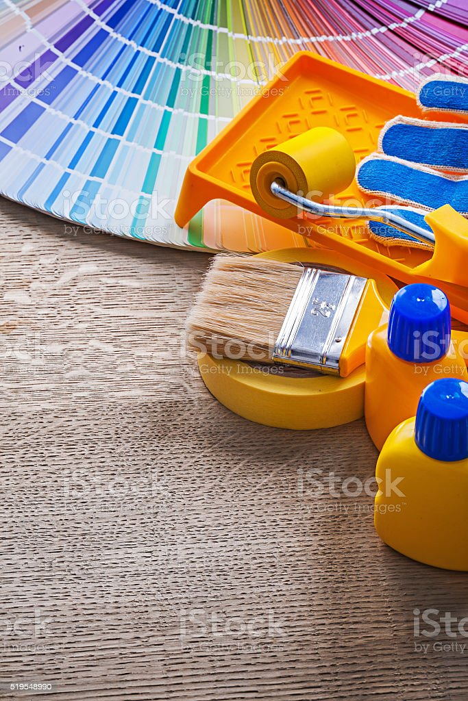 vertical version paint tools on board stock photo