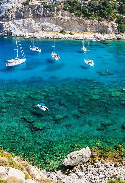 Vertical view for tourist paradise bay on Rhodes stock photo