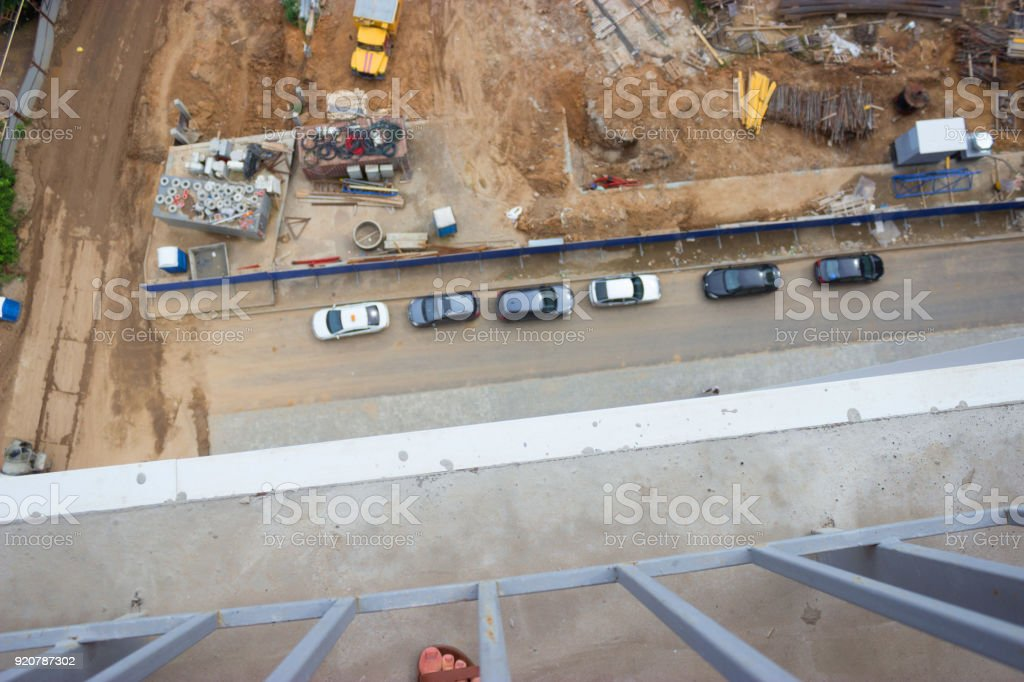 Vertical view from the top of the bulding stock photo