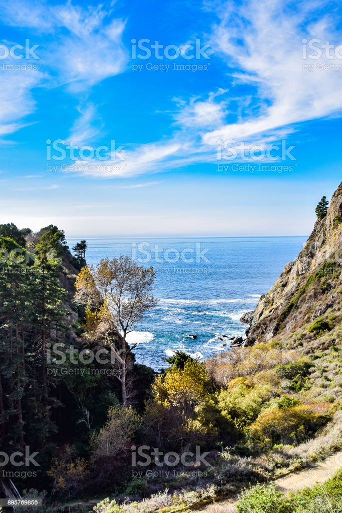 Vertical View From the Top of the Partington Cove Trail stock photo