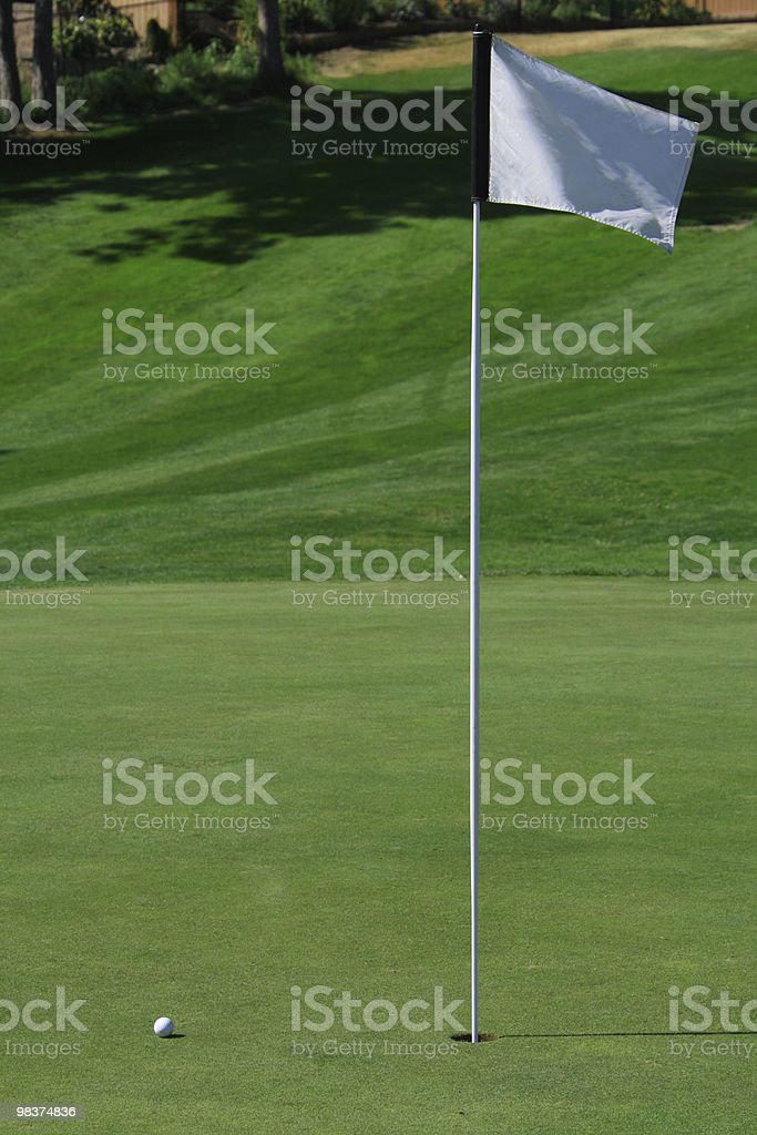 Vertical view of a white ball and flag on a golf green stock photo