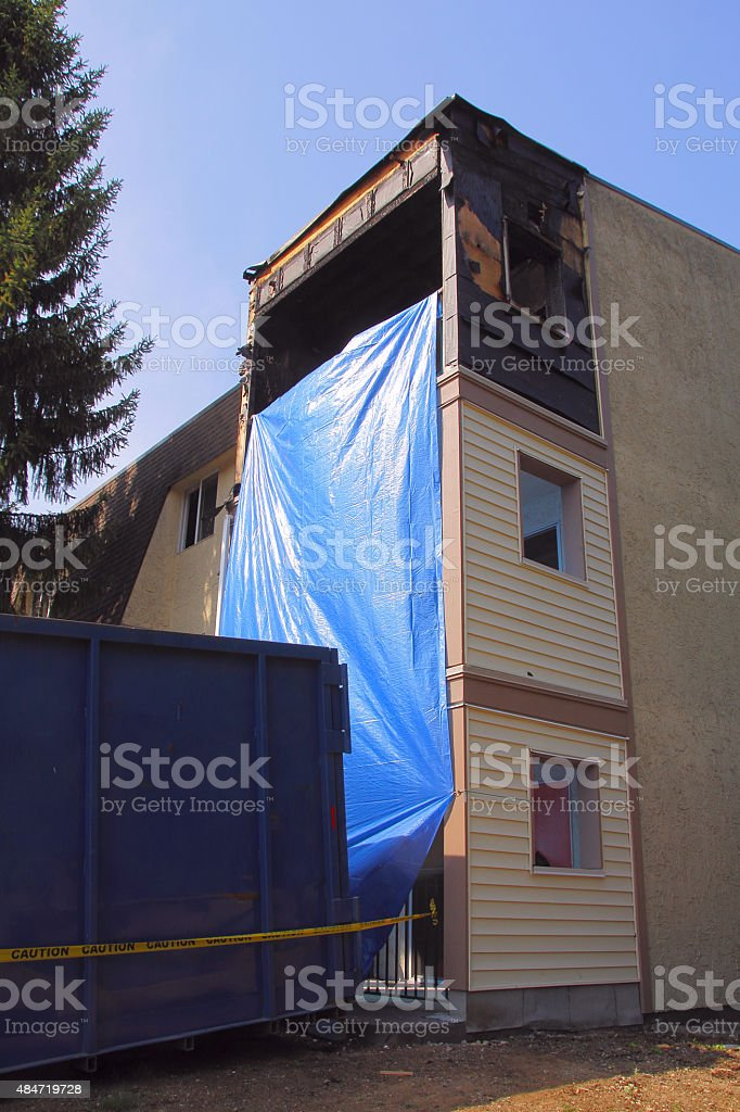 Vertical View of an Apartment Gutted by Fire stock photo