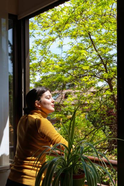 pencereden bakan beyaz kadının dikey görünümü. - vitamin d stok fotoğraflar ve resimler