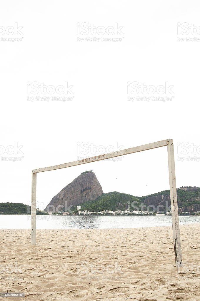 Vertical View of Football Goal, Flamengo Beach, Rio, Brazil. stock photo