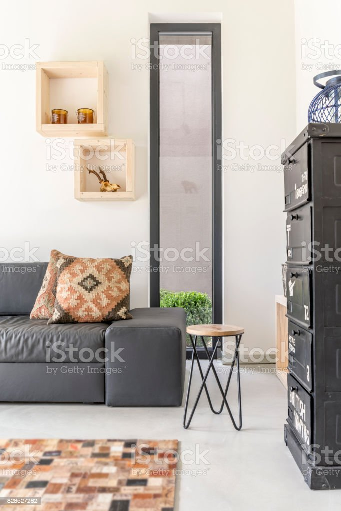 Vertical view of guest room stock photo