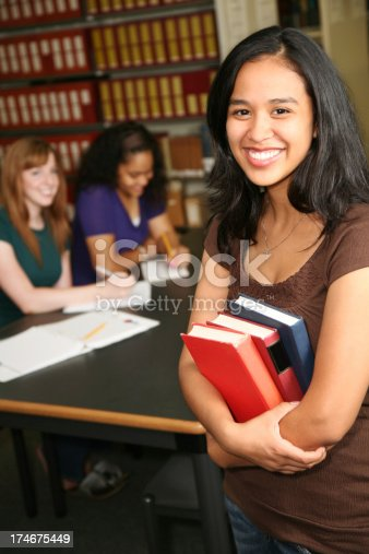 istock Vertical View of Happy Female Student in the Library 174675449