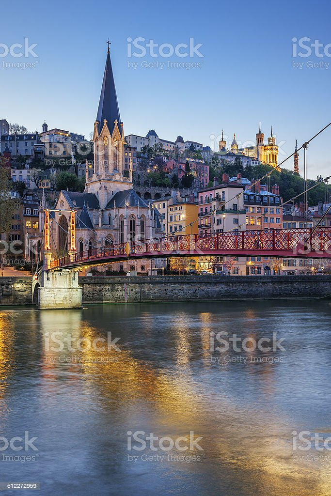Vertical view of Lyon with Saone river stock photo