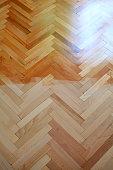 Vertical view of parquet floor