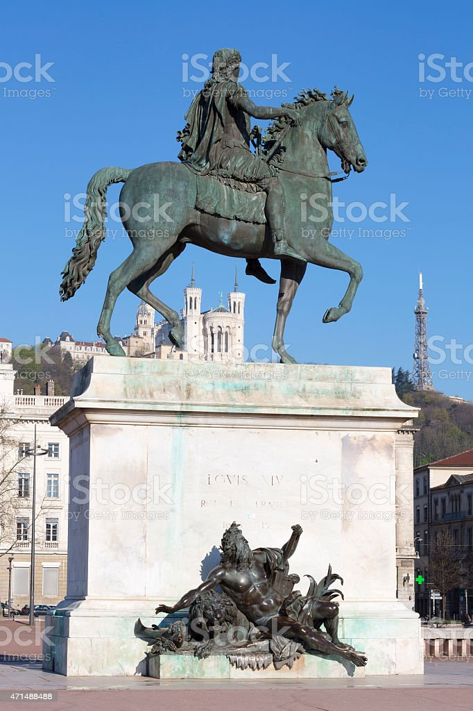 Vertical view of Statue and Basilica stock photo