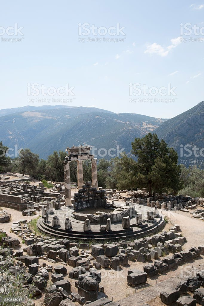 Vertical view of the archaeological site of Delphi in Greece stock photo