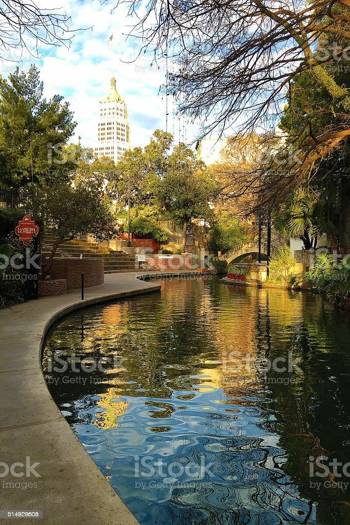 Vertical view of the San Antonio Riverwalk stock photo