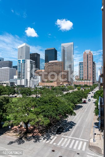 Vertical View of the Streets of Houston With Mostly Clear Skies