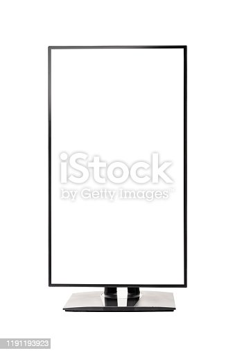 Vertical view of ultra high definition frameless computer monitor screen on white background