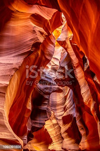Rock formations inside upper antelope slot canyon in Page, AZ. USA