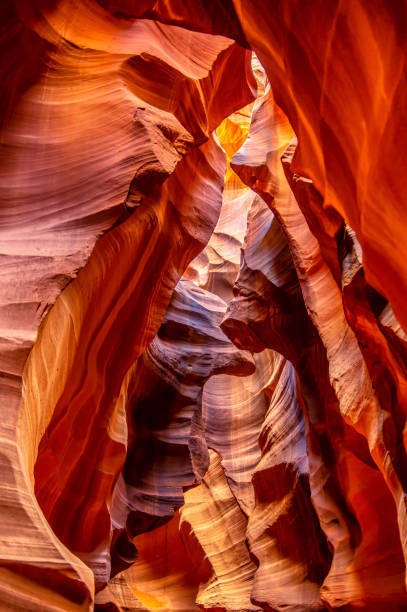 vertical view of upper antelope canyon stock photo