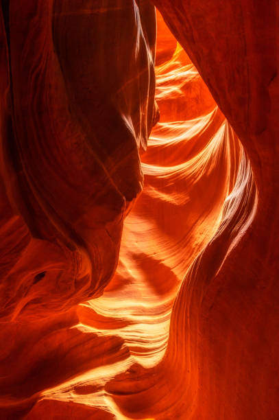 vertical view of upper antelope canyon - upper antelope canyon stock photos and pictures