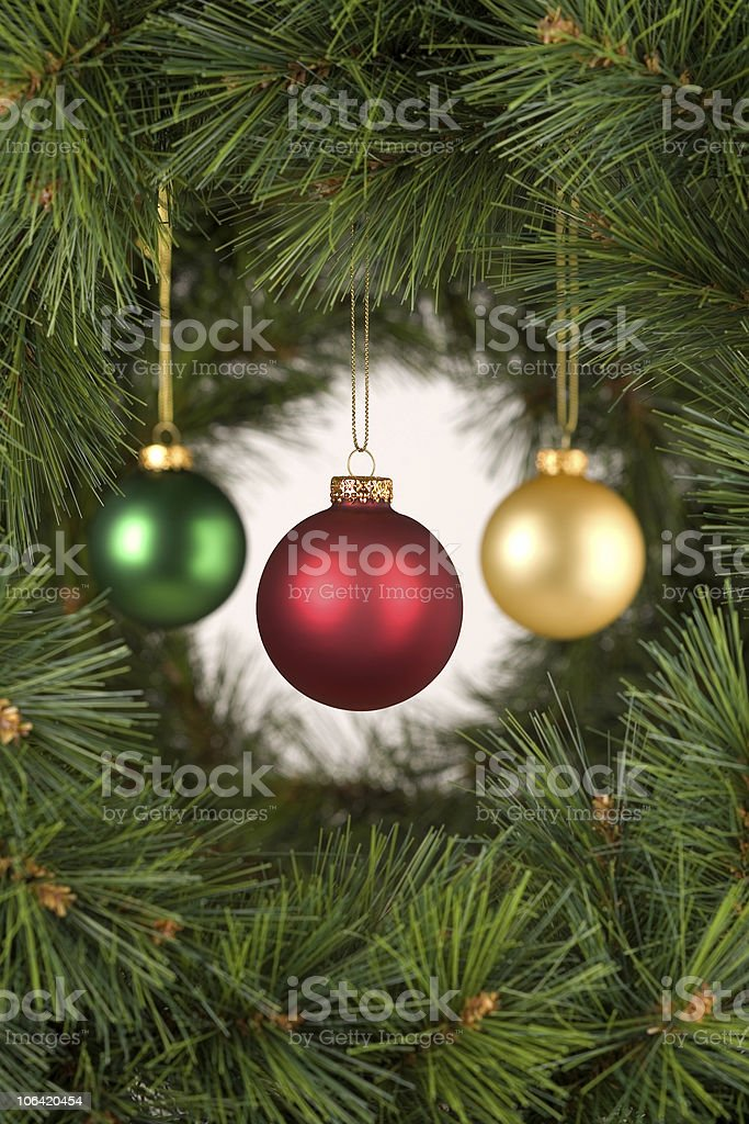 Vertical white Christmas Decorations Scene stock photo