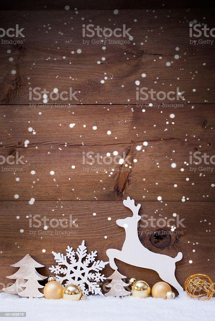 Vertikale Weiß und Golden Christmas Card mit Textfreiraum, Snowfalke – Foto
