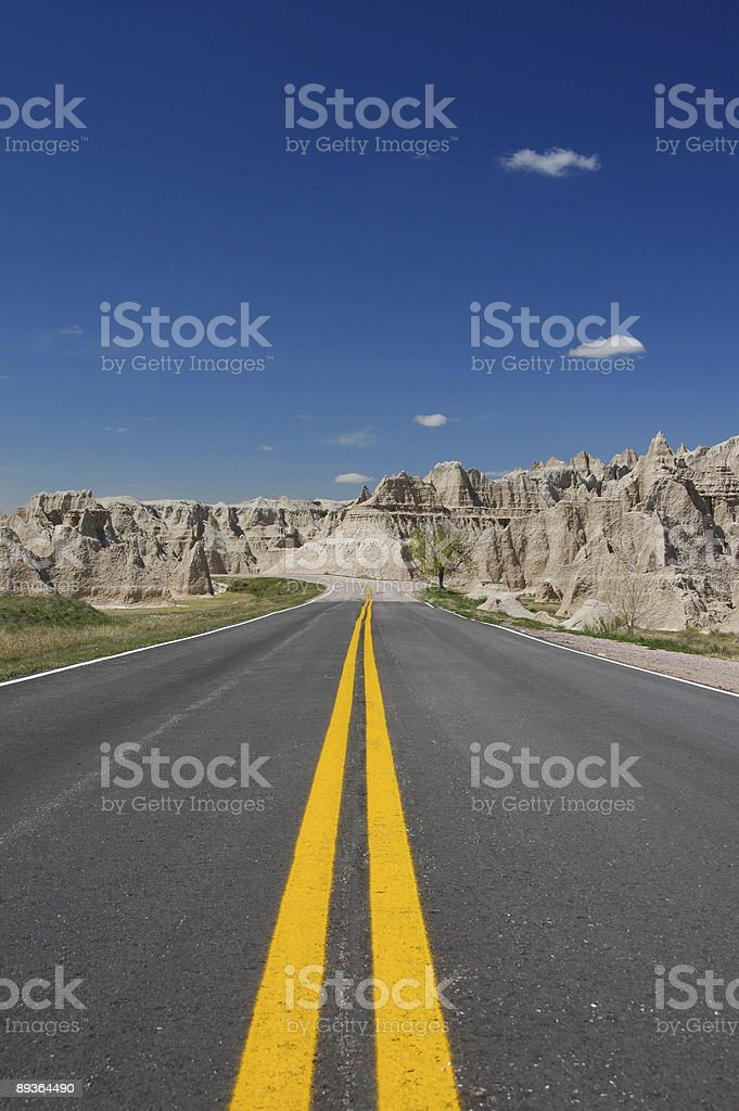 Vertical yellow lines in the Badlands royalty-free stock photo