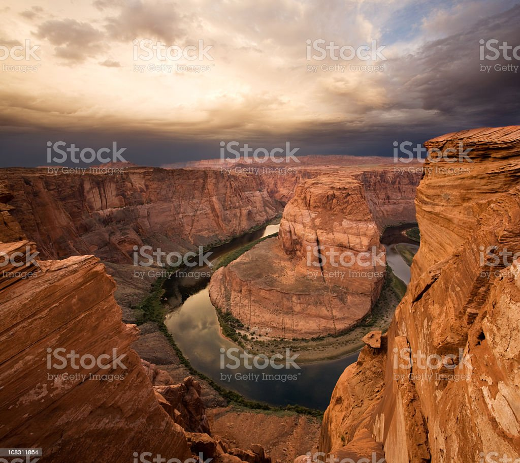 Vertigo! Horseshoe Bend near Grand Canyon stock photo