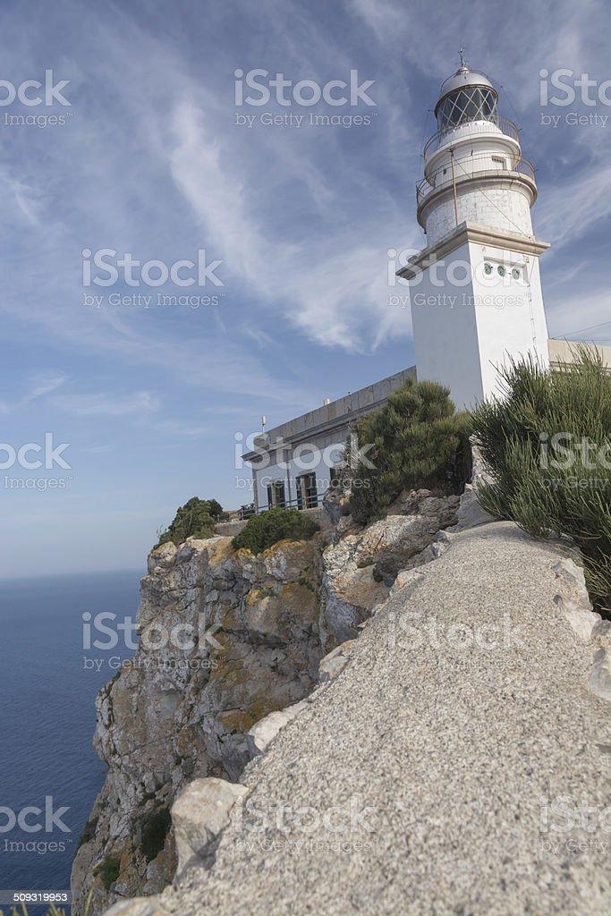 Vertigo inducing heights at Formentor lighthouse stock photo
