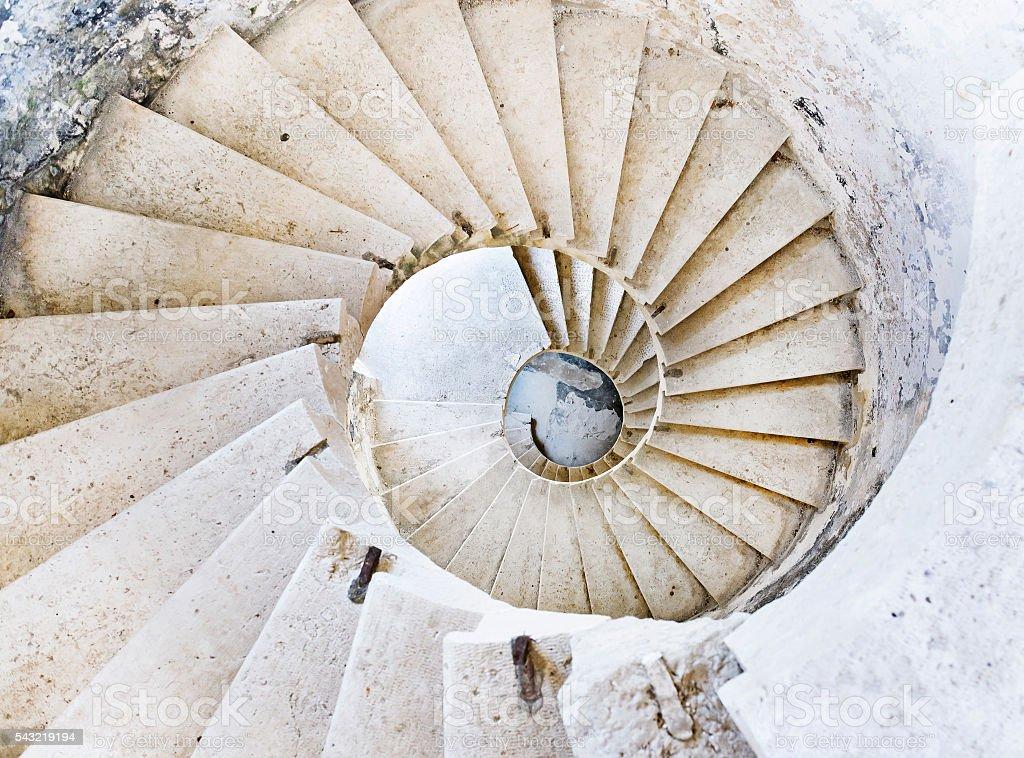 Vertigo spiral stairs stock photo
