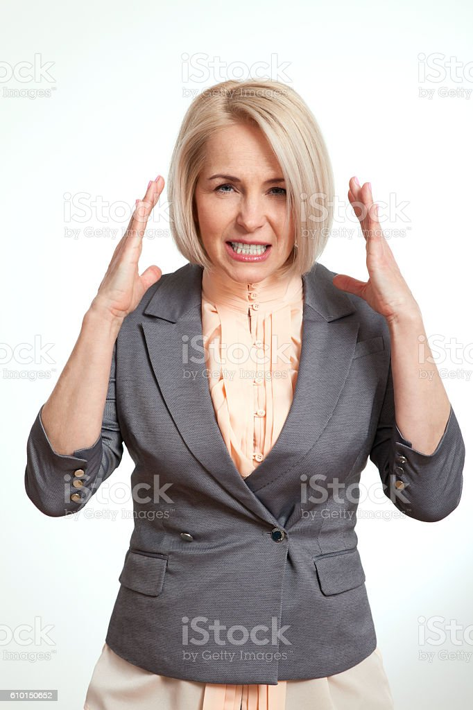 Very angry woman stock photo