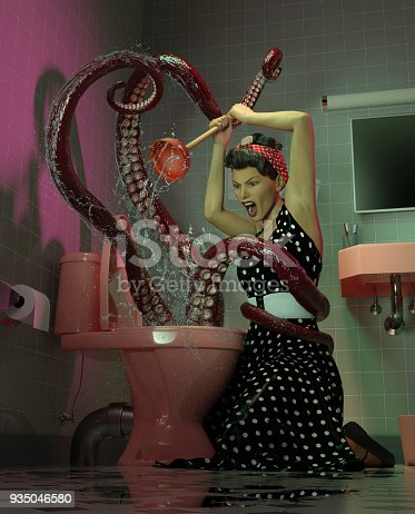 High resolution digital image of a woman battling a very bad clog in her toilet. The woman is dressed in vintage 1950's dress, and has a similar hairstyle. She is yelling fiercely, and wielding a plunger. The clog is represented by a creature that is mostly unseen, except for three tentacles, one of which has wrapped around the waist of the woman. Green and pink tones dominate, and the scene is lit in a classic vintage horror movie style.