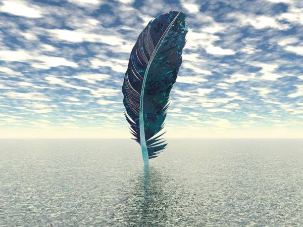 very beautiful feather above the ocean - 3d rendering stock photo