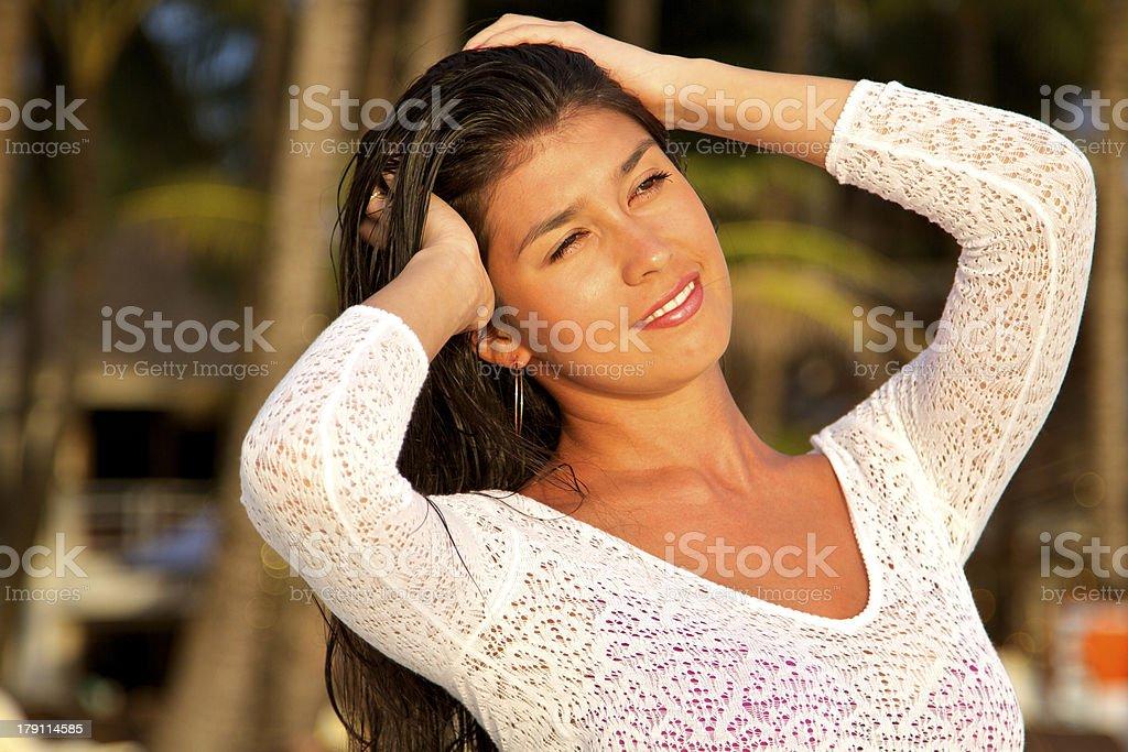 Very beautiful girl in bikini on a beach royalty-free stock photo