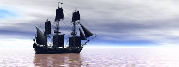 very beautiful old boat traveling on the sea - 3d rendering stock photo