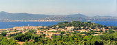 panoramic view of the Gulf and the village of Saint Tropez from the Saint Anne Chapel in the south of France