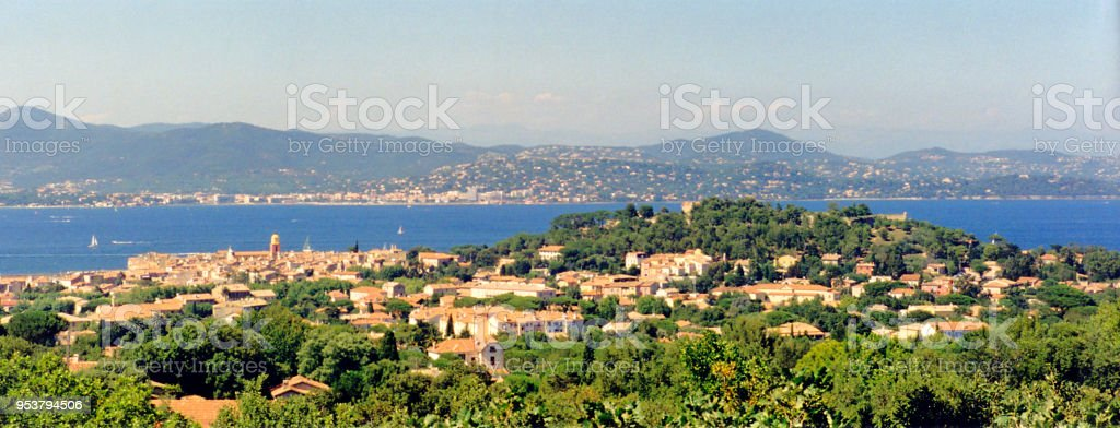 very beautiful panoramic view of the Gulf and the village of Saint Tropez from the Sainte Anne Chapel in the south of France stock photo