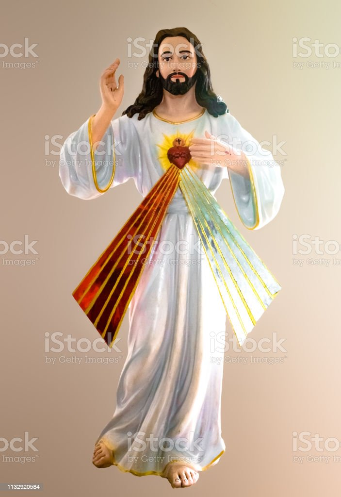 Very Beautiful Photo Of Jesus Christ Giving Blessings From His Sacred Heart Jesus Christ Is Shown Wearing White Robe And With An Isolated Background Stock Photo Download Image Now Istock