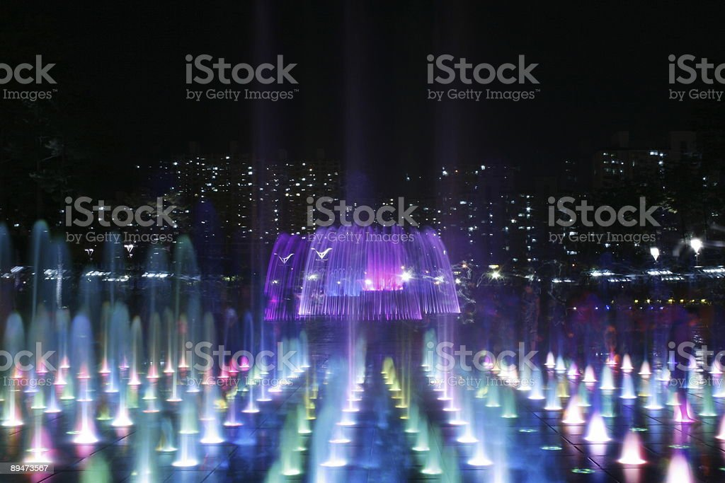Very Beautiful Series of Fountains at Night stock photo