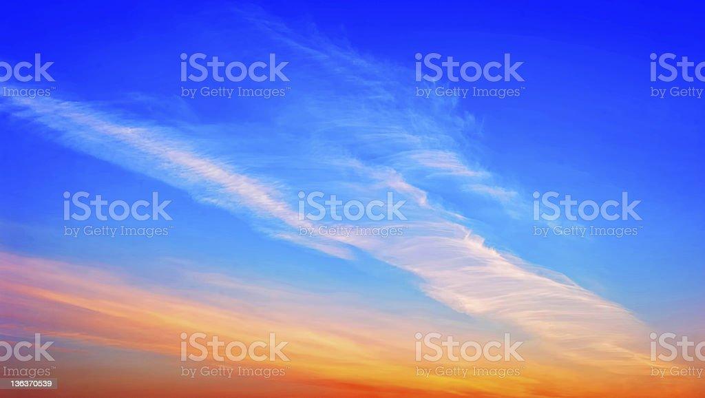 Very beautiful  sky at the sunset stock photo