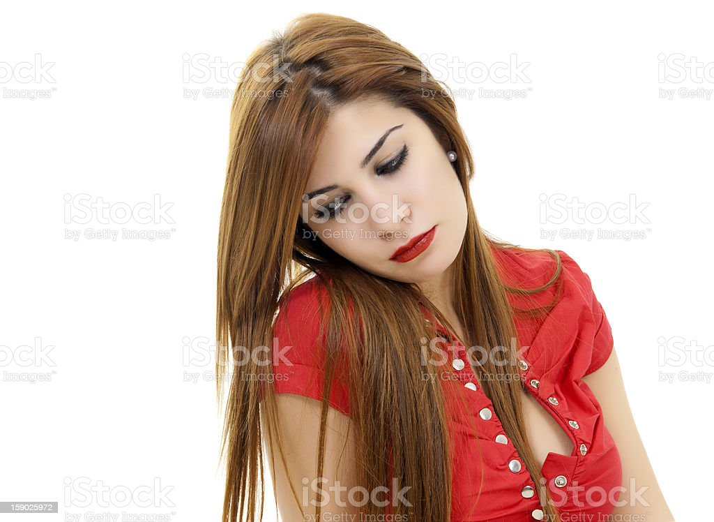 very beautiful young woman is thinking royalty-free stock photo
