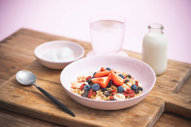 very berry toasted muesli/granola breakfast cereal - anthony mcgovern stock photos and pictures