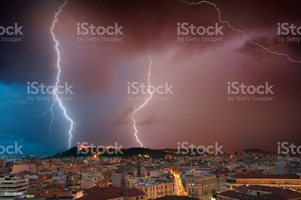 Very big lightning on the city stock photo
