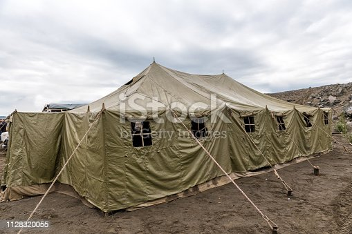 Very big military tent in the field