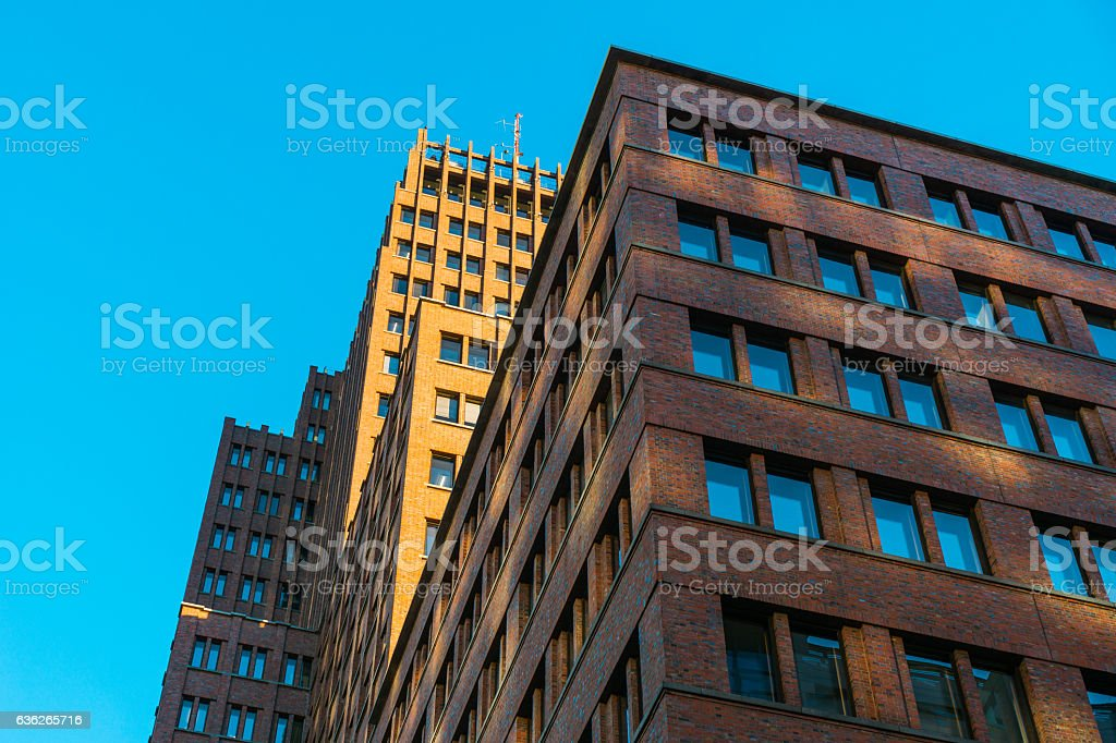 very big office building with brick facade stock photo