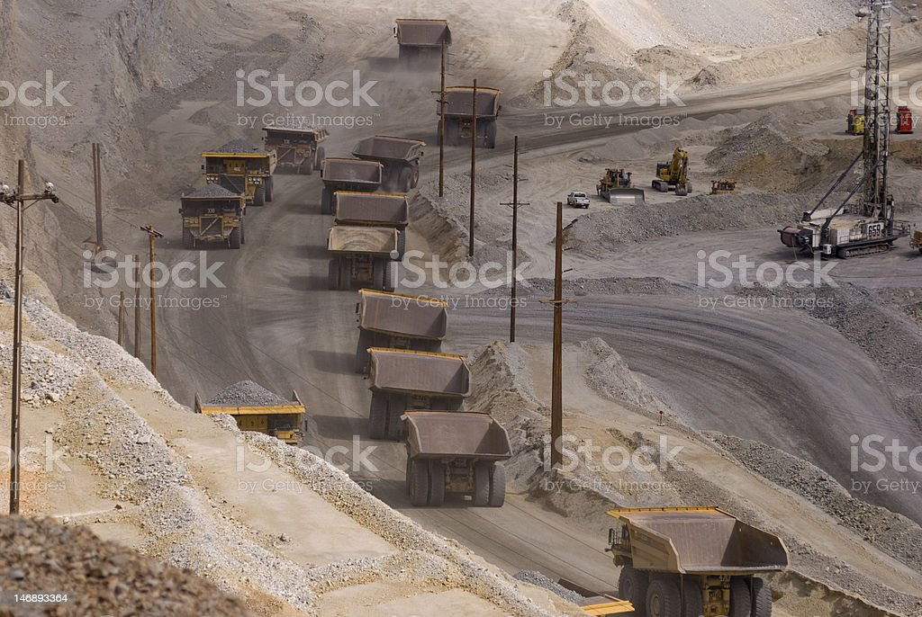 Very Big Trucks in a Copper Mine royalty-free stock photo